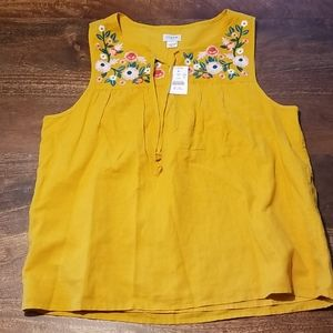 J.Crew Embroidered Linen Blend Sleeveless Top M